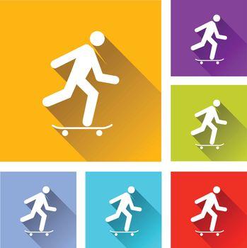 illustration of colorful square skateboard icons set