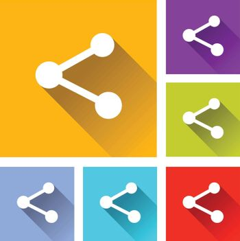 illustration of colorful square share icons set