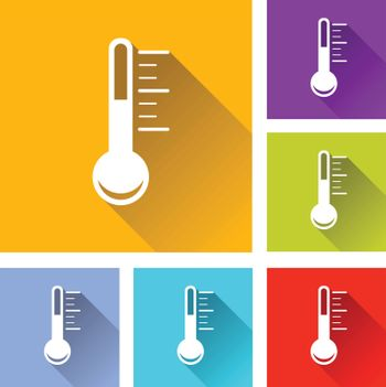 illustration of colorful square thermometer icons set