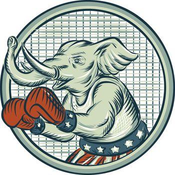 Republican Elephant Boxer Mascot Circle Etching