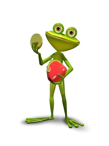 illustration green Frog with a red purse