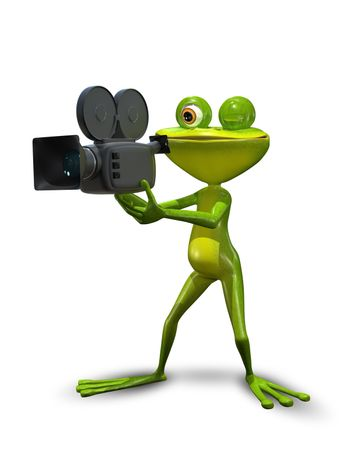 illustration green Frog producer with a camcorder