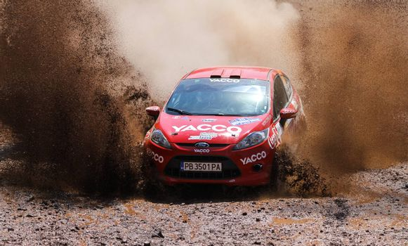 ISTANBUL, TURKEY - JULY 26, 2015: Georgi Geradzhiev drives Ford Fiesta R2 of Automobile Sport Clup Plovdiv Team in Bosphorus Rally 2015, Gocbeyli stage