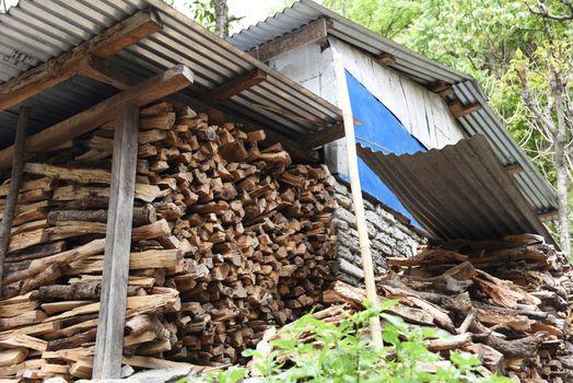 the firewood storage in village, Nepal