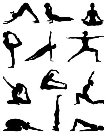Black silhouettes of yoga and gymnastics, vector