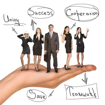 Business people in humans hand with unity idea