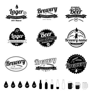 Set of beer elements in this illustration.