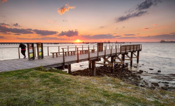 Golden sun setting over Botany Bay