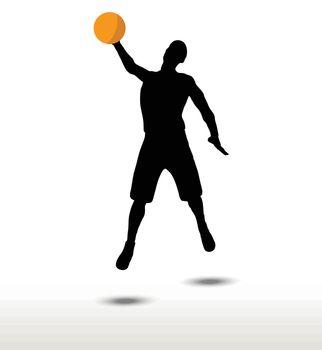 basketball player slhouette in slam pose
