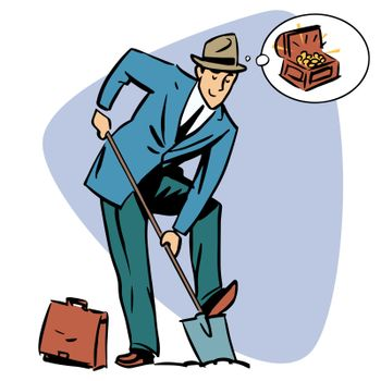 Businessman treasure hunter dreams money business people concept