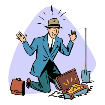 businessman found treasure business people concept character
