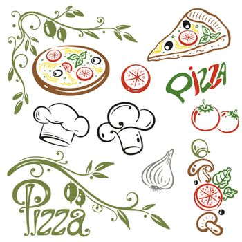 Illustration with a collection of pizza elements.