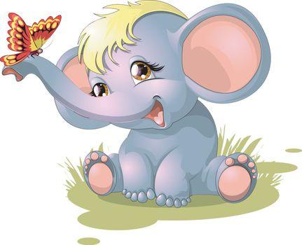 Vector illustration with a cartoon animal.