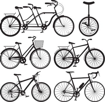 Vector illustration with bicycles.