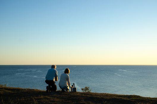 Senior couple by seaside