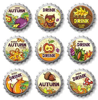 Set of bottle caps designed as coasters.