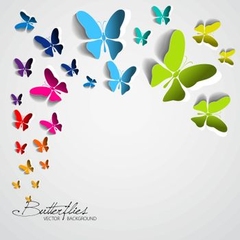 Vector illustration with colorful butterflies.