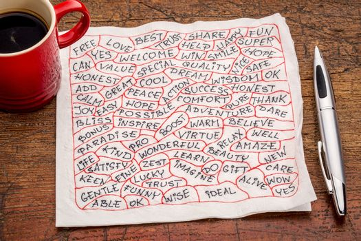 positive word cloud  - handwriting on a napkin with a cup of coffee