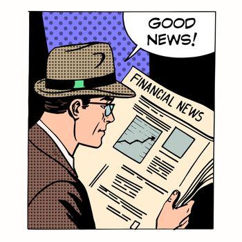 Good financial news businessman reading a newspaper. Retro style pop art. Business media