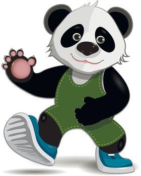 illustration cute fat panda on a white background