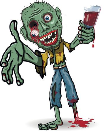 illustration of a zombie with a glass