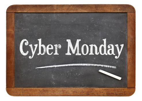 Cyber Monday sign - white chalk text on an isolated  vintage slate blackboard - internet shopping concept