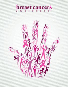 Breast cancer awareness pink ribbon women hand