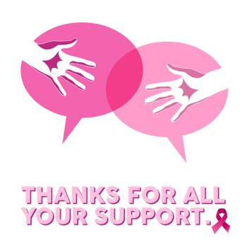 Breast cancer awareness social support hands