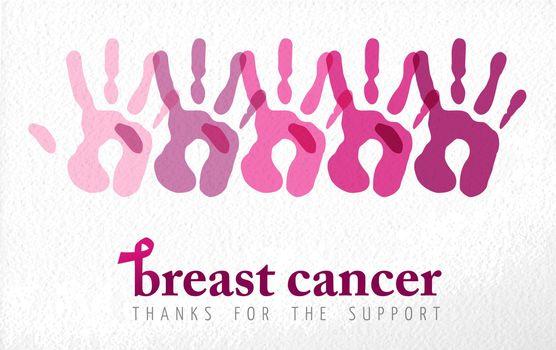 Breast cancer awareness handprint illustration