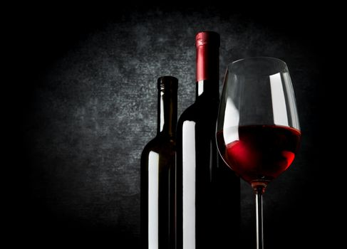 Wine on black background