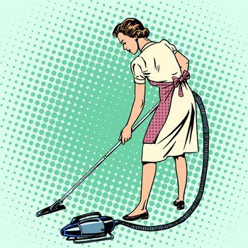 Woman vacuuming the room housewife housework comfort