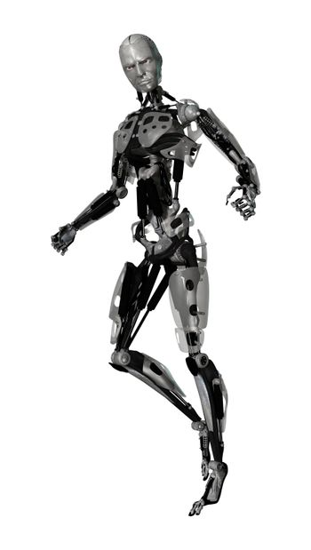 3D digital render of a male cyborg isolated on white background