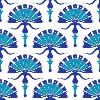 Vector Turkish Flowers Geometric Seamless Pattern graphic design