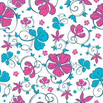 Vector Swirly Vibrant Flowers Seamless Pattern graphic design