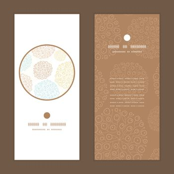 Vector blue brown abstract seaweed texture vertical round frame pattern invitation greeting cards set graphic design