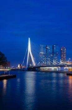 Erasmus Bridge in Rotterdam, Twilight time