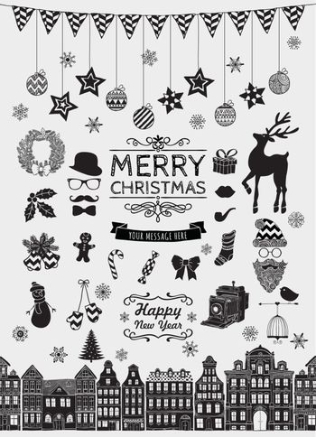 Set of Black Hand Sketched Christmas Doodle Icons, Shapes, Symbols. Xmas Vector Illustration. Text Lettering. Party Design Elements, Cartoons, Seamless Houses.