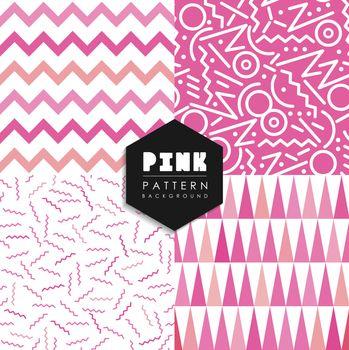 Seamless pattern set pink shape elements geometry