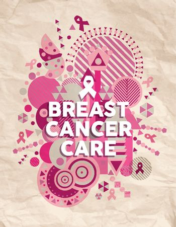 Breast cancer care font pink geometric poster