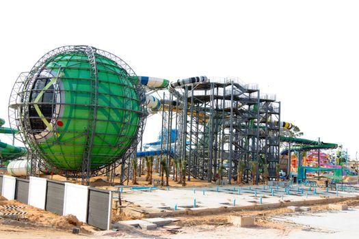 PATTAYA, THAILAND - 2014 APRIL 6 : The construction progressing of Cartoon Network Amazone Waterpark Thailand since April 6, 2014.