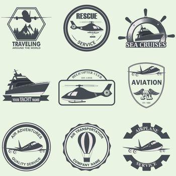 vector illustration of set of means of transport