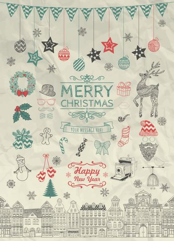 Set of Colorful Hand Sketched Christmas Doodle Icons, Shapes, Symbols on Crumpled Paper Texture. Xmas Vector Illustration. Text Lettering. Decorative Party Design Elements, Cartoons, Seamless Houses.