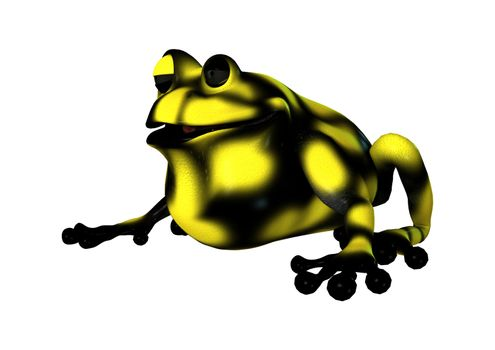 3D digital render of a cartoon yellow frog isolated on white background