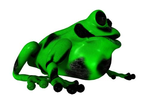 3D digital render of a green cartoon frog isolated on white background