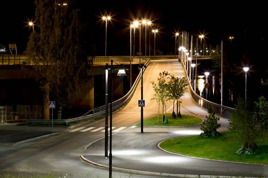 On-Ramp to the Curch Bridge in Umeå, Sweden at night.