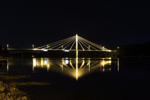 """Cable Bridge in Umeå, Sweden. The """"Kolbäcksbron""""."""
