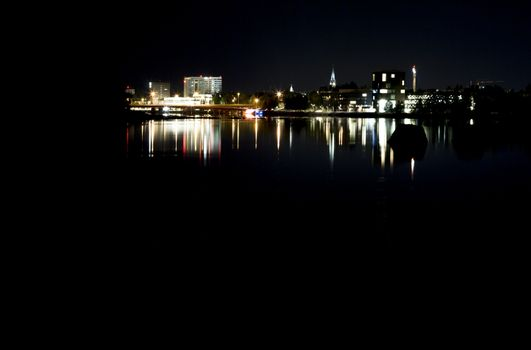 Downtown Umeå, Sweden at Night