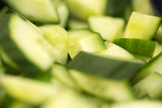 Chopped Cucumber Close Up. Macro Image.
