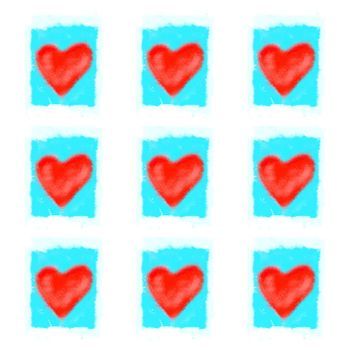 Background with bright red abstract hearts pattern