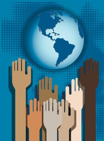 Hands of people on a blue background and globe